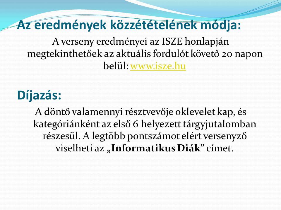 Az eredmények közzétételének módja: A verseny eredményei az ISZE honlapján megtekinthetőek az aktuális fordulót követő 20 napon belül: www.isze.huwww.isze.hu Díjazás: A döntő valamennyi résztvevője oklevelet kap, és kategóriánként az első 6 helyezett tárgyjutalomban részesül.