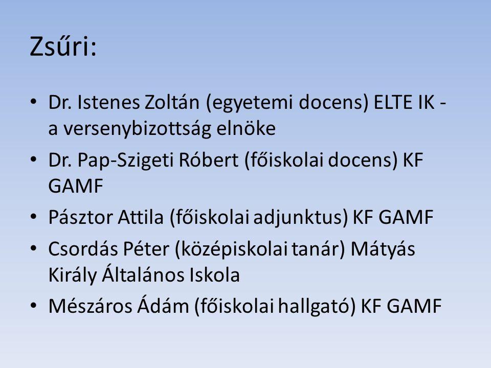 Zsűri: Dr. Istenes Zoltán (egyetemi docens) ELTE IK - a versenybizottság elnöke Dr. Pap-Szigeti Róbert (főiskolai docens) KF GAMF Pásztor Attila (főis