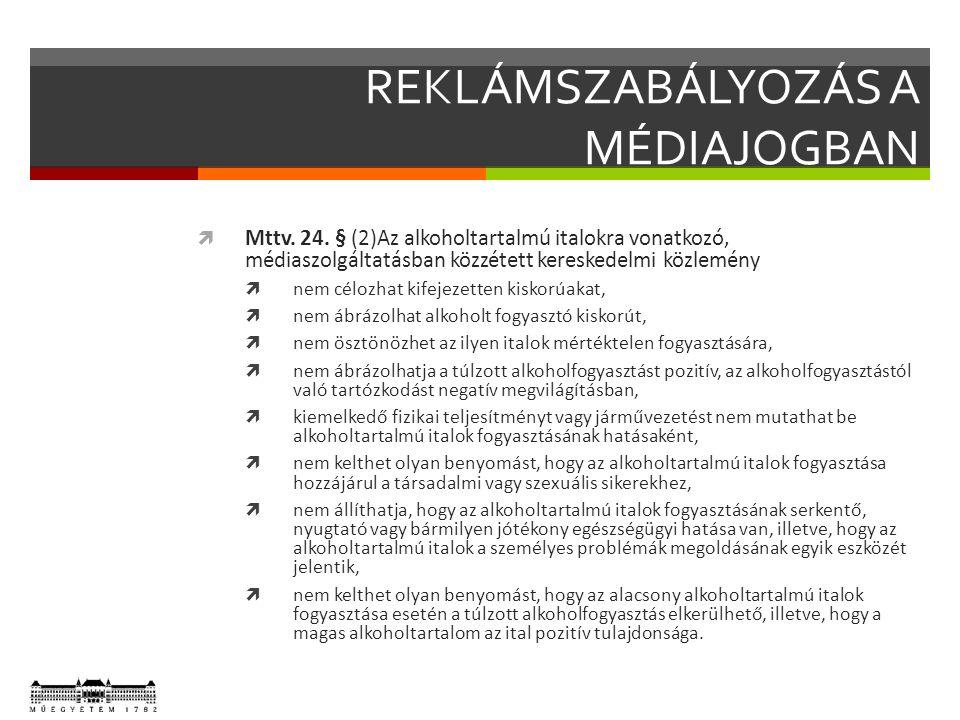 REKLÁMSZABÁLYOZÁS A MÉDIAJOGBAN  Mttv. 24.