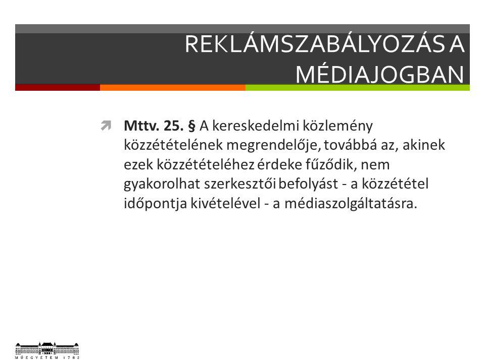 REKLÁMSZABÁLYOZÁS A MÉDIAJOGBAN  Mttv. 25.