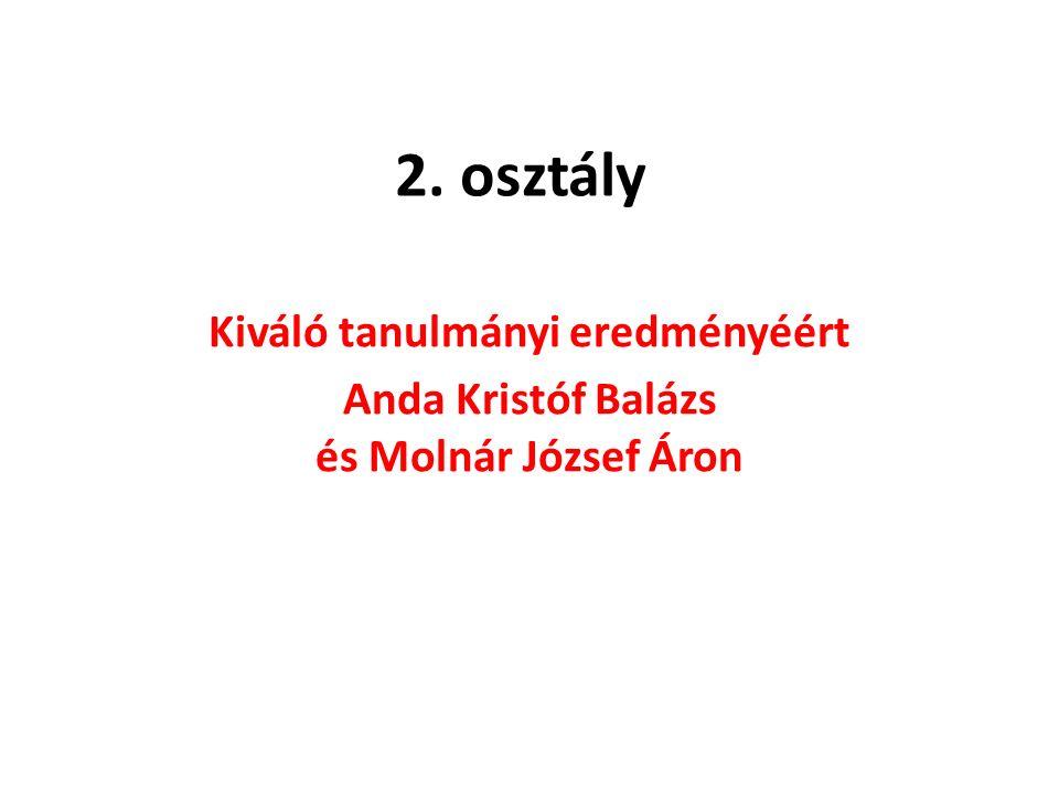 2. osztály Kiváló tanulmányi eredményéért Anda Kristóf Balázs és Molnár József Áron