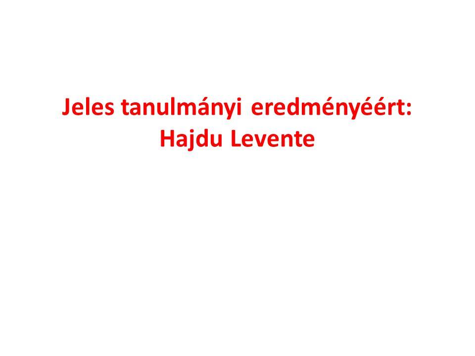 Jeles tanulmányi eredményéért: Hajdu Levente