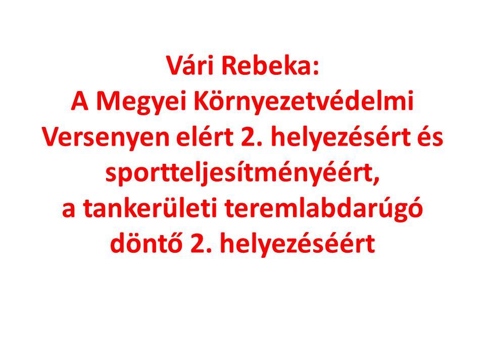 Vári Rebeka: A Megyei Környezetvédelmi Versenyen elért 2.