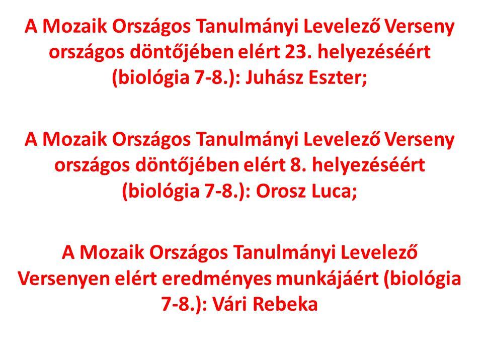 A Mozaik Országos Tanulmányi Levelező Verseny országos döntőjében elért 23.