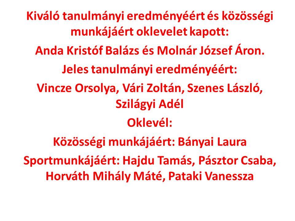 Kiváló tanulmányi eredményéért és közösségi munkájáért oklevelet kapott: Anda Kristóf Balázs és Molnár József Áron.