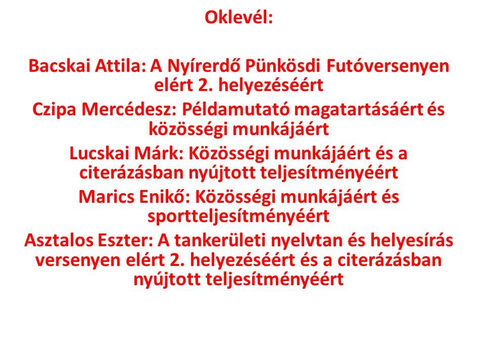 Oklevél: Bacskai Attila: A Nyírerdő Pünkösdi Futóversenyen elért 2.