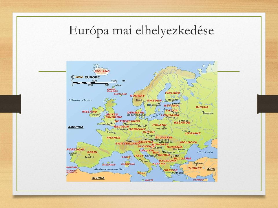 Európa mai elhelyezkedése