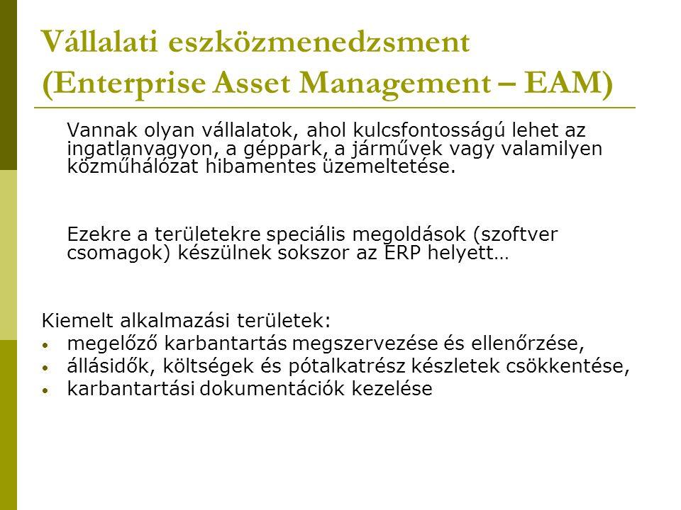 Vállalati eszközmenedzsment (Enterprise Asset Management – EAM) Vannak olyan vállalatok, ahol kulcsfontosságú lehet az ingatlanvagyon, a géppark, a járművek vagy valamilyen közműhálózat hibamentes üzemeltetése.