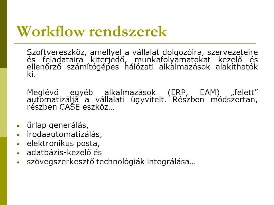 Workflow rendszerek Szoftvereszköz, amellyel a vállalat dolgozóira, szervezeteire és feladataira kiterjedő, munkafolyamatokat kezelő és ellenőrző számítógépes hálózati alkalmazások alakíthatók ki.