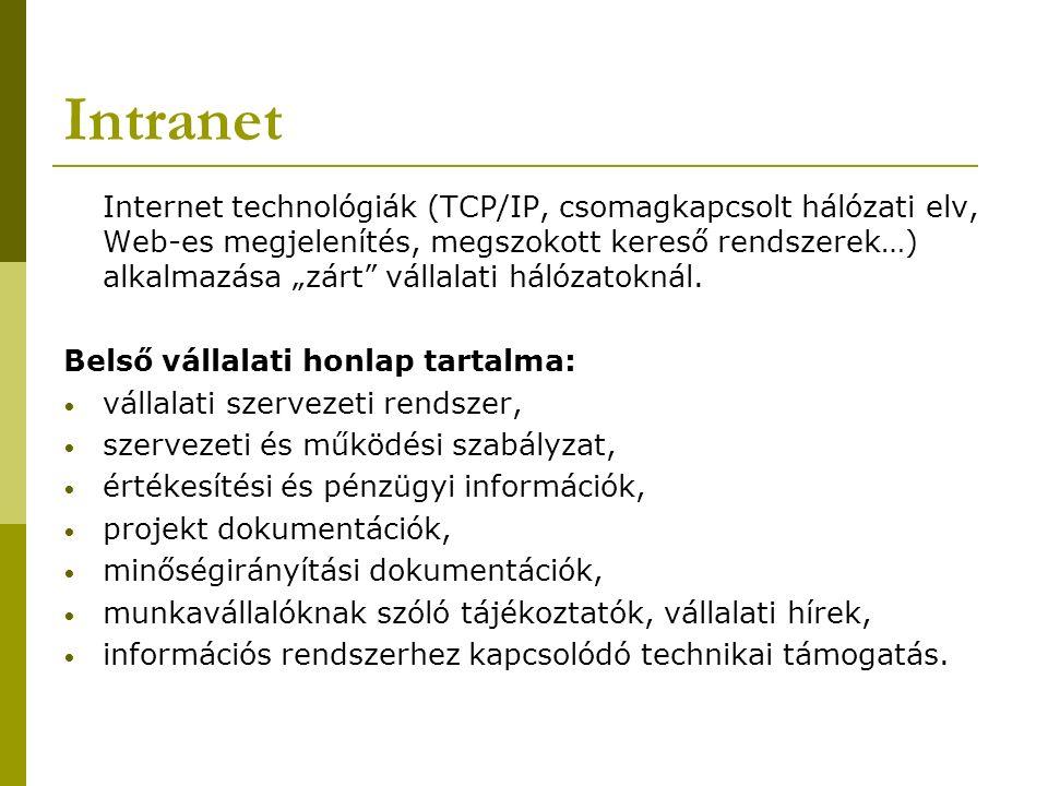 """Intranet Internet technológiák (TCP/IP, csomagkapcsolt hálózati elv, Web-es megjelenítés, megszokott kereső rendszerek…) alkalmazása """"zárt vállalati hálózatoknál."""