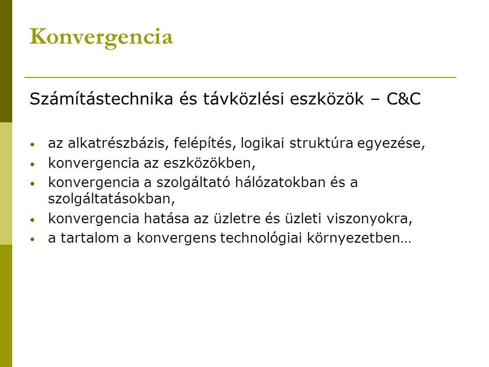 Konvergencia Számítástechnika és távközlési eszközök – C&C az alkatrészbázis, felépítés, logikai struktúra egyezése, konvergencia az eszközökben, konv