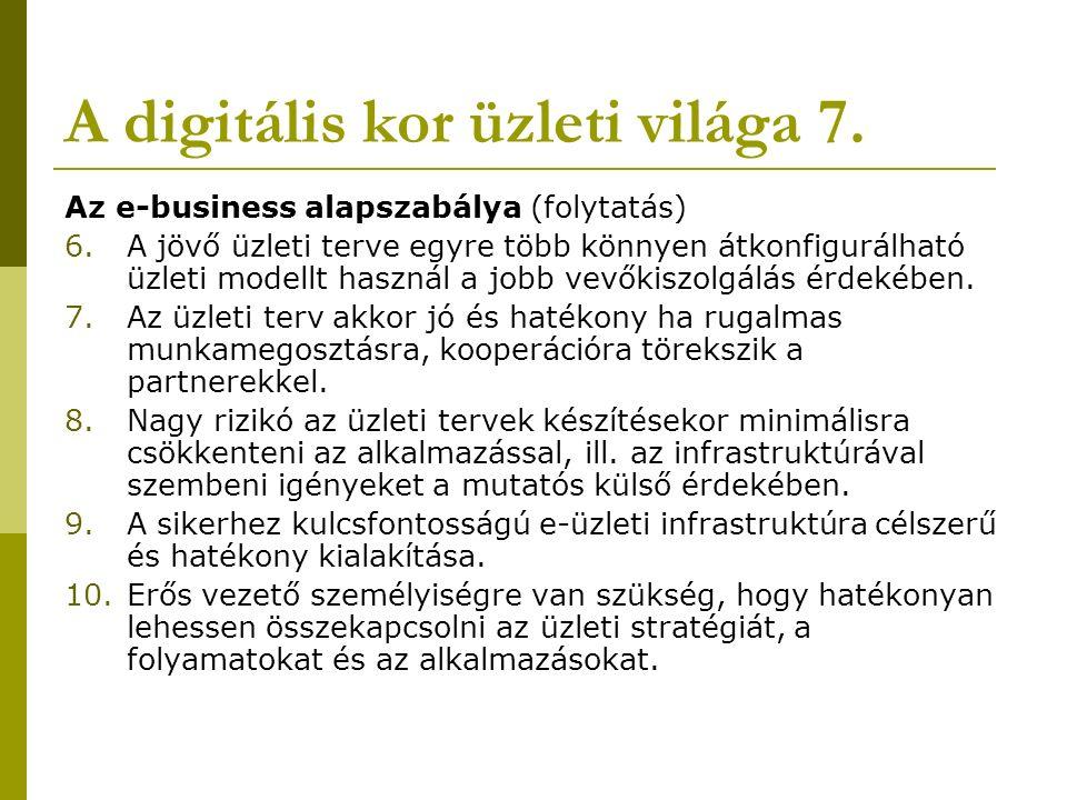 A digitális kor üzleti világa 7. Az e-business alapszabálya (folytatás) 6.A jövő üzleti terve egyre több könnyen átkonfigurálható üzleti modellt haszn