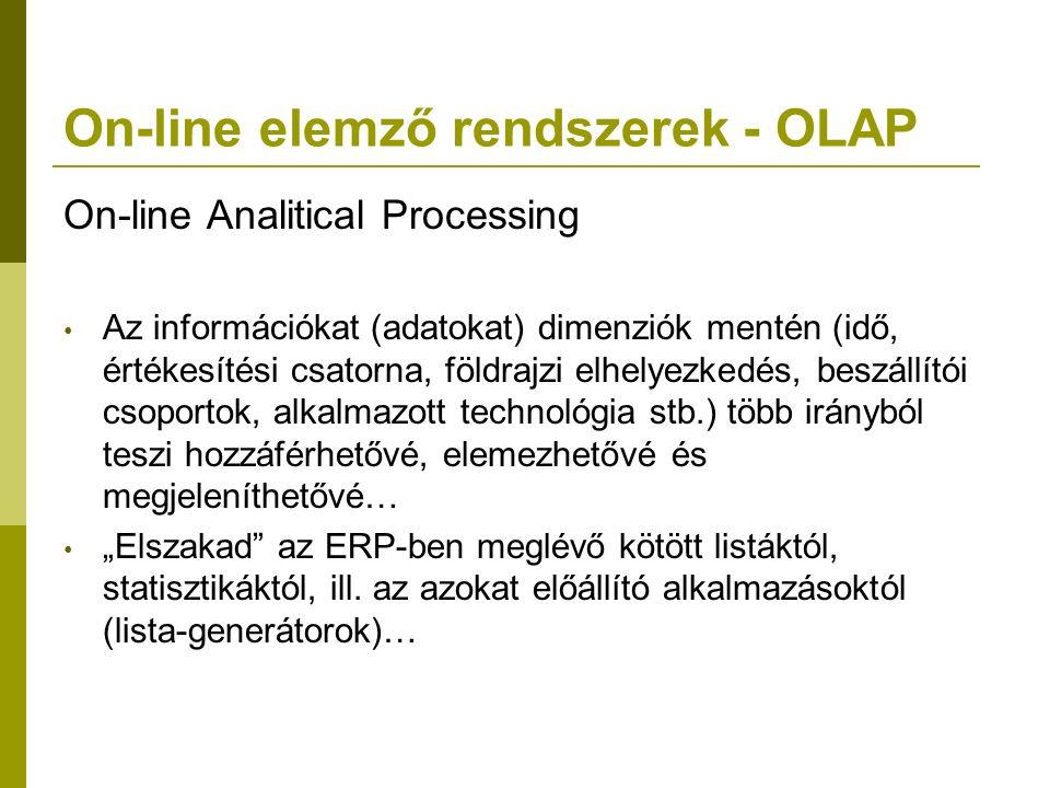 On-line elemző rendszerek - OLAP On-line Analitical Processing Az információkat (adatokat) dimenziók mentén (idő, értékesítési csatorna, földrajzi elh