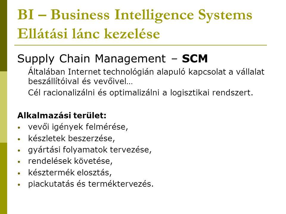 BI – Business Intelligence Systems Ellátási lánc kezelése Supply Chain Management – SCM Általában Internet technológián alapuló kapcsolat a vállalat beszállítóival és vevőivel… Cél racionalizálni és optimalizálni a logisztikai rendszert.