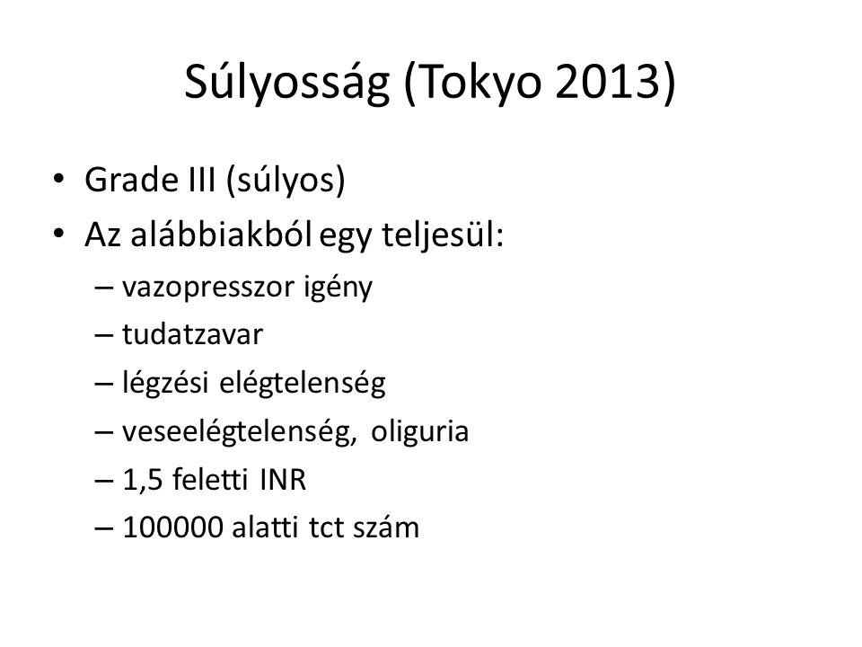 Súlyosság (Tokyo 2013) Grade III (súlyos) Az alábbiakból egy teljesül: – vazopresszor igény – tudatzavar – légzési elégtelenség – veseelégtelenség, oliguria – 1,5 feletti INR – 100000 alatti tct szám