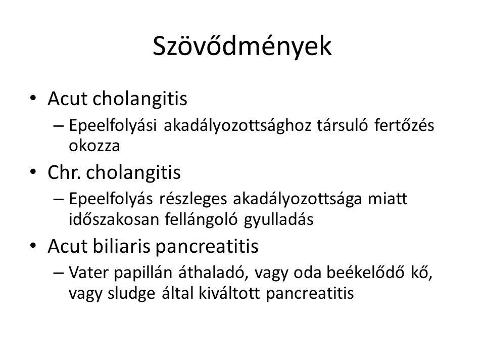 Szövődmények Acut cholangitis – Epeelfolyási akadályozottsághoz társuló fertőzés okozza Chr.