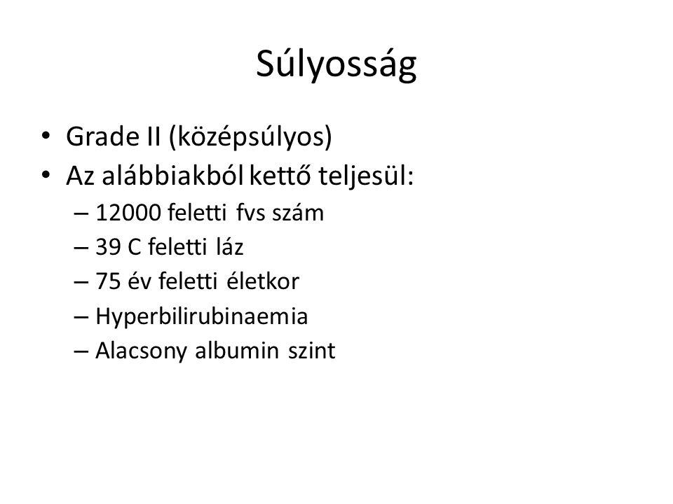 Súlyosság Grade II (középsúlyos) Az alábbiakból kettő teljesül: – 12000 feletti fvs szám – 39 C feletti láz – 75 év feletti életkor – Hyperbilirubinaemia – Alacsony albumin szint