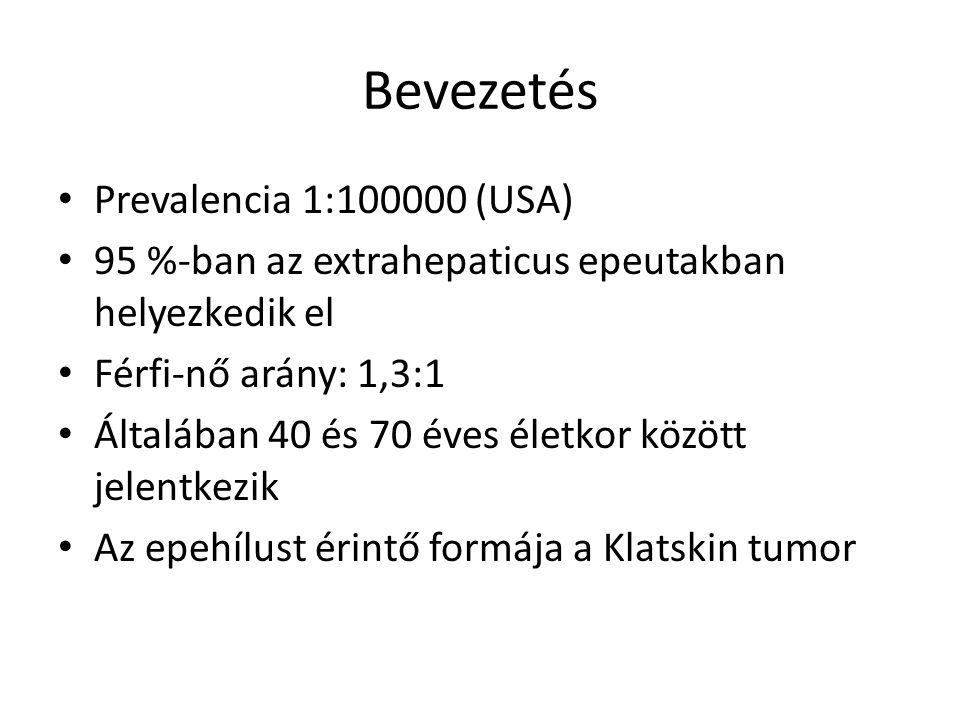 Bevezetés Prevalencia 1:100000 (USA) 95 %-ban az extrahepaticus epeutakban helyezkedik el Férfi-nő arány: 1,3:1 Általában 40 és 70 éves életkor között jelentkezik Az epehílust érintő formája a Klatskin tumor