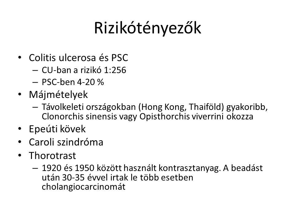 Rizikótényezők Colitis ulcerosa és PSC – CU-ban a rizikó 1:256 – PSC-ben 4-20 % Májmételyek – Távolkeleti országokban (Hong Kong, Thaiföld) gyakoribb, Clonorchis sinensis vagy Opisthorchis viverrini okozza Epeúti kövek Caroli szindróma Thorotrast – 1920 és 1950 között használt kontrasztanyag.