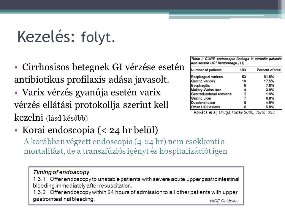 Kezelés: folyt. Cirrhosisos betegnek GI vérzése esetén antibiotikus profilaxis adása javasolt.
