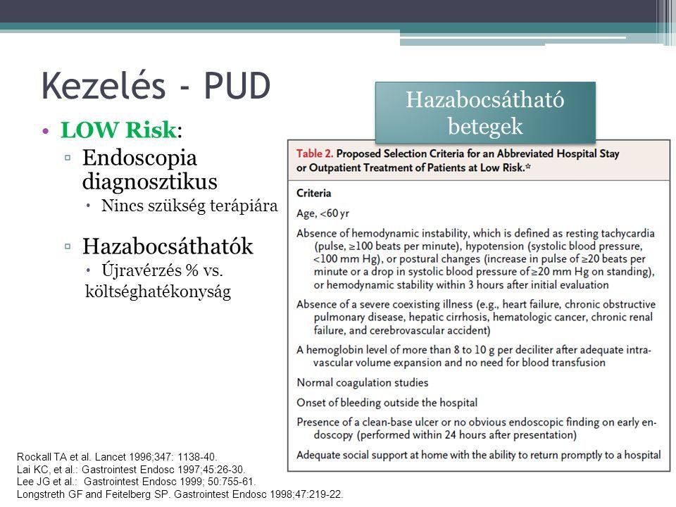 Kezelés - PUD LOW Risk: ▫Endoscopia diagnosztikus  Nincs szükség terápiára ▫Hazabocsáthatók  Újravérzés % vs.
