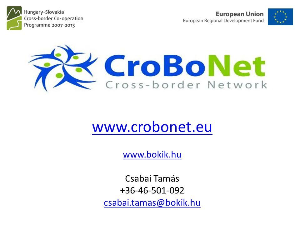 www.crobonet.eu www.bokik.hu www.crobonet.eu www.bokik.hu Csabai Tamás +36-46-501-092 csabai.tamas@bokik.hu csabai.tamas@bokik.hu