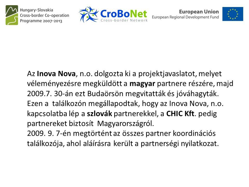 Az Inova Nova, n.o. dolgozta ki a projektjavaslatot, melyet véleményezésre megküldött a magyar partnere részére, majd 2009.7. 30-án ezt Budaörsön megv