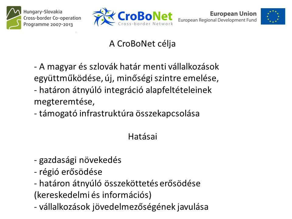 A Crobonet célja A CroBoNet célja - A magyar és szlovák határ menti vállalkozások együttműködése, új, minőségi szintre emelése, - határon átnyúló integráció alapfeltételeinek megteremtése, - támogató infrastruktúra összekapcsolása Hatásai - gazdasági növekedés - régió erősödése - határon átnyúló összeköttetés erősödése (kereskedelmi és információs) - vállalkozások jövedelmezőségének javulása