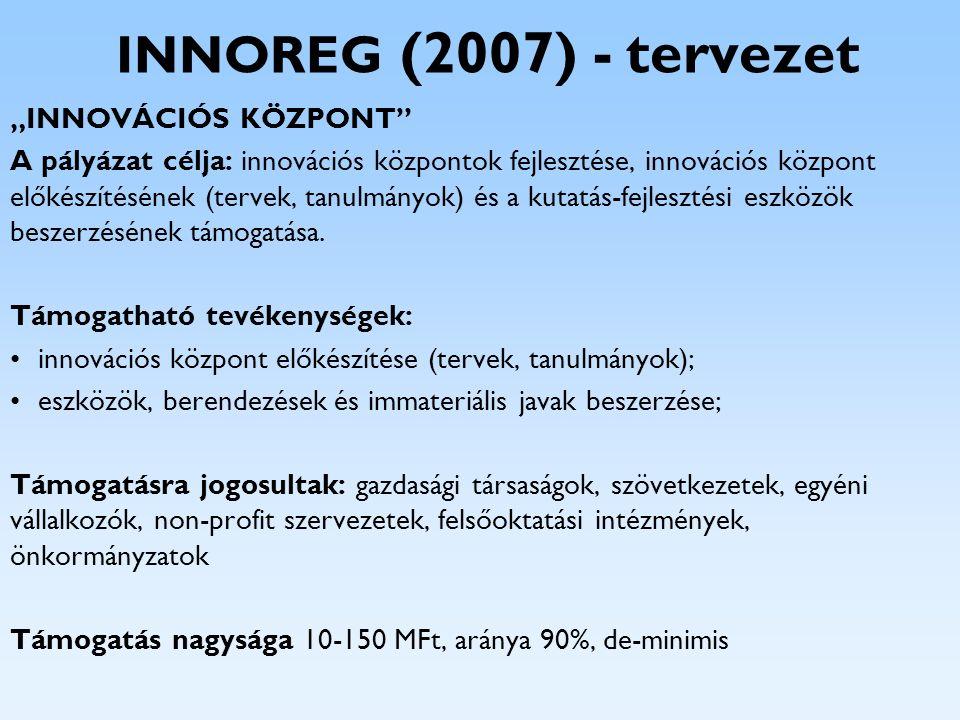 """INNOREG (2007) - tervezet """"INNOVÁCIÓS KÖZPONT"""" A pályázat célja: innovációs központok fejlesztése, innovációs központ előkészítésének (tervek, tanulmá"""