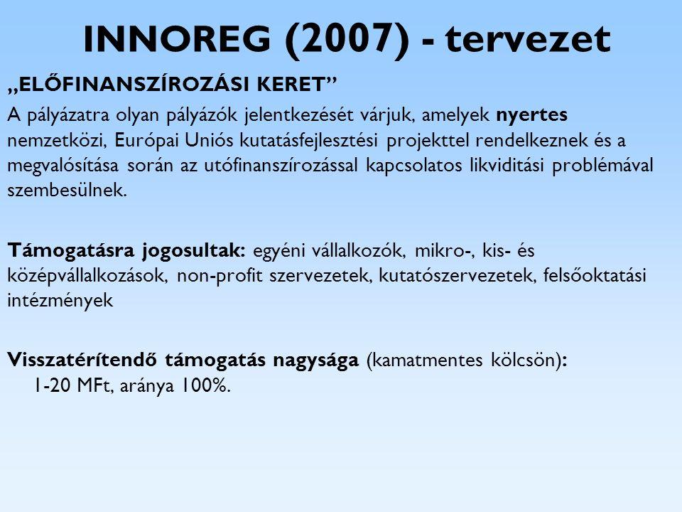 """INNOREG (2007) - tervezet """"ELŐFINANSZÍROZÁSI KERET"""" A pályázatra olyan pályázók jelentkezését várjuk, amelyek nyertes nemzetközi, Európai Uniós kutatá"""