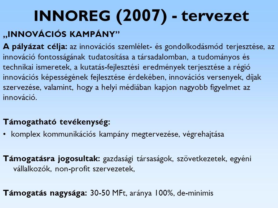 """INNOREG (2007) - tervezet """"INNOVÁCIÓS KAMPÁNY"""" A pályázat célja: az innovációs szemlélet- és gondolkodásmód terjesztése, az innováció fontosságának tu"""