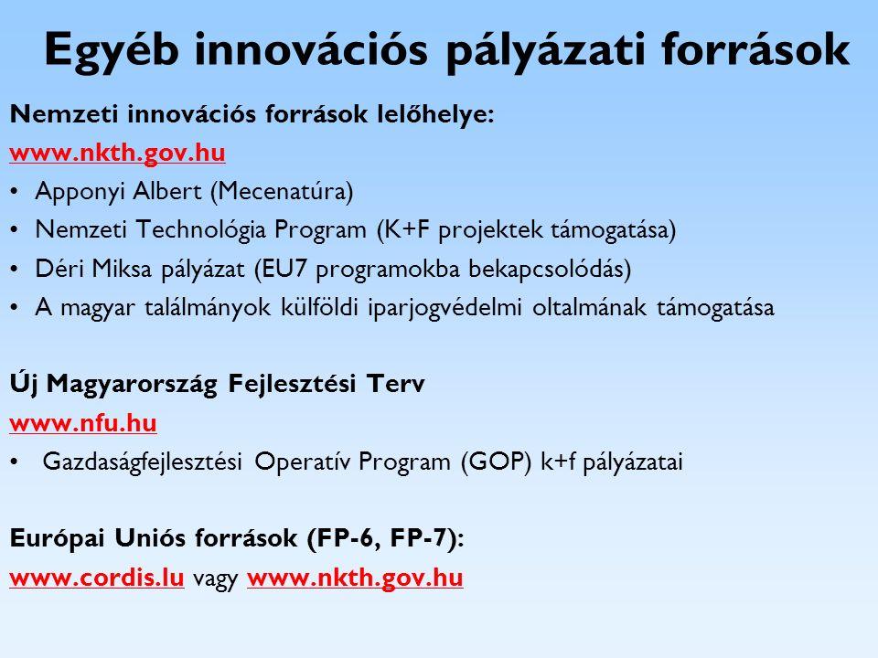Egyéb innovációs pályázati források Nemzeti innovációs források lelőhelye: www.nkth.gov.hu Apponyi Albert (Mecenatúra) Nemzeti Technológia Program (K+
