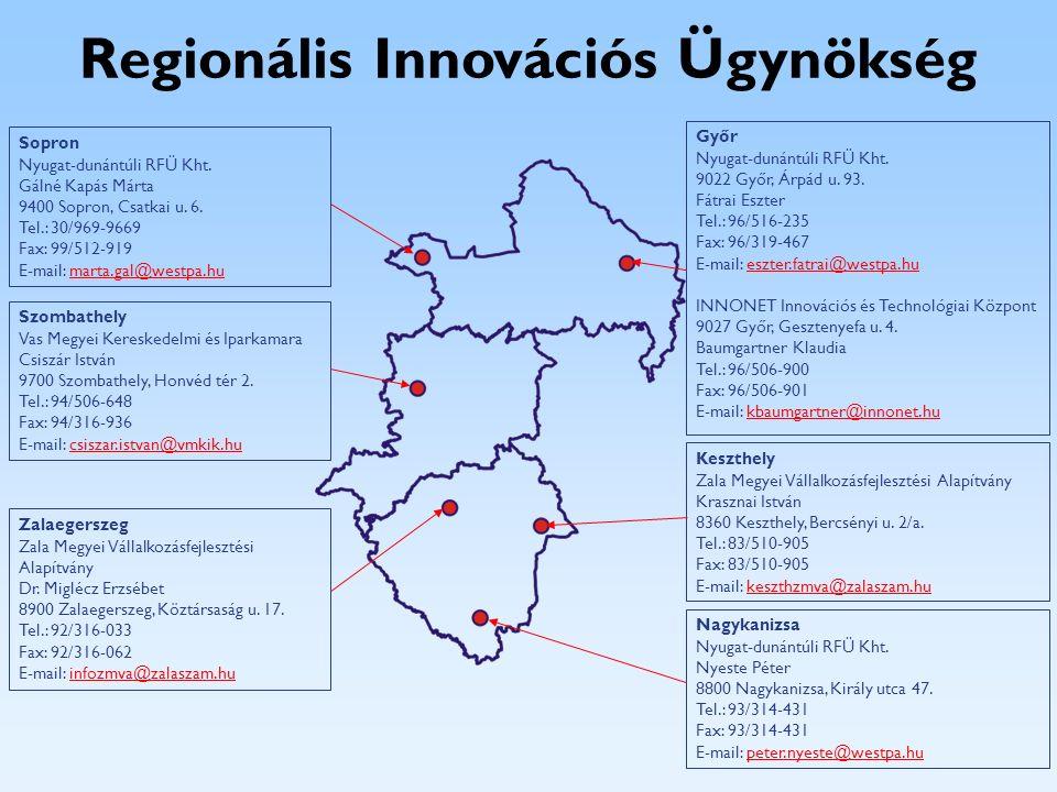 Regionális Innovációs Ügynökség Győr Nyugat-dunántúli RFÜ Kht. 9022 Győr, Árpád u. 93. Fátrai Eszter Tel.: 96/516-235 Fax: 96/319-467 E-mail: eszter.f
