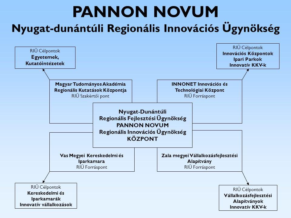 Tevékenységek, szolgáltatások Információs portál: www.pannonnovum.hu Hozzáférés nemzetközi és hazai adatbázisokhoz Innovációs hírlevél, kiadvány Innovációs szakirodalomtár kialakítása Innovációs benchmarking modell létrehozása Hálózati menedzser képzések Innovációs bróker tréningek Kisokos, klub, coaching Technológiai transzfer szemináriumok Innovációs szolgáltatási mátrix kidolgozása Tanácsadó füzetek (iparjogvédelem, minőség,…) Regionális Innovációs Tanács