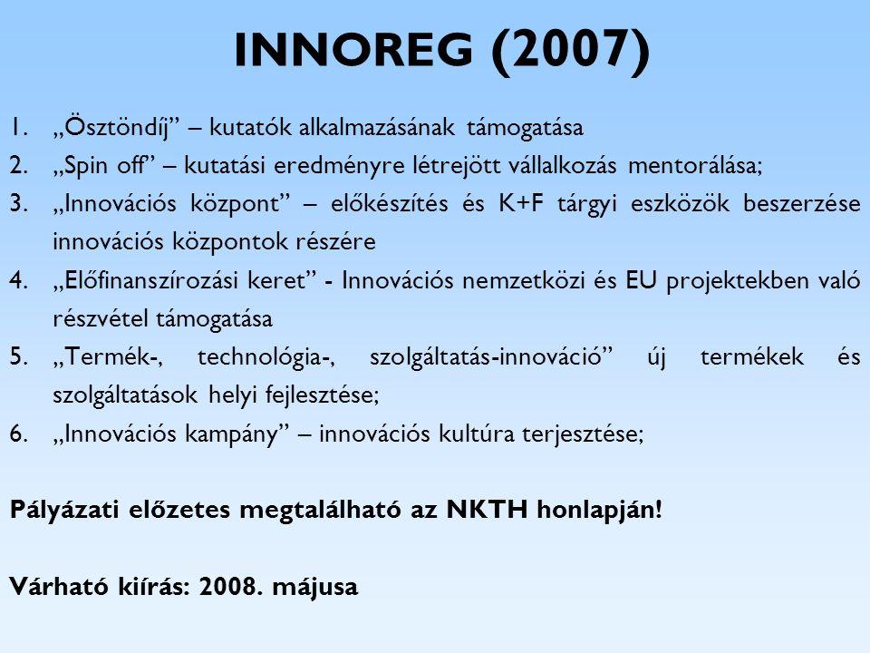 INNOREG (2007) Kiemelt célterületek: járműipar; fa- és bútoripar; egészségmegőrzéshez kapcsolódó szolgáltatás-innováció; illetve információs és kommunikációs technológiák; környezeti ipar (a megújuló energiákat is beleértve); tudásipar; PályázatKeretösszeg 1.