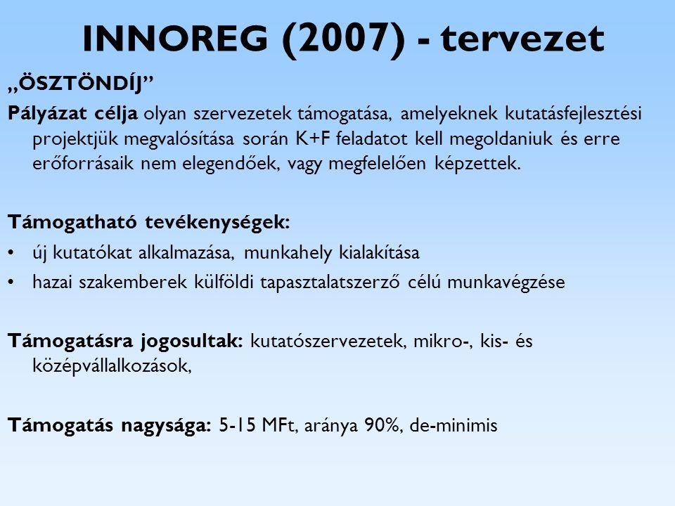 """INNOREG (2007) - tervezet """"ÖSZTÖNDÍJ"""" Pályázat célja olyan szervezetek támogatása, amelyeknek kutatásfejlesztési projektjük megvalósítása során K+F fe"""