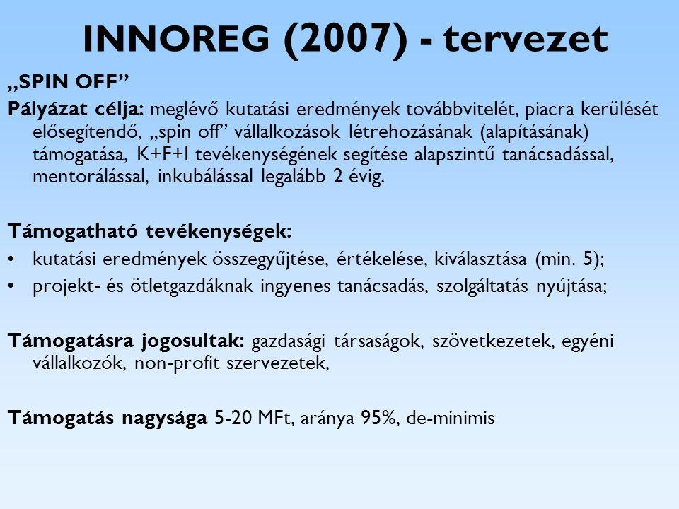 """INNOREG (2007) - tervezet """"SPIN OFF"""" Pályázat célja: meglévő kutatási eredmények továbbvitelét, piacra kerülését elősegítendő, """"spin off"""" vállalkozáso"""