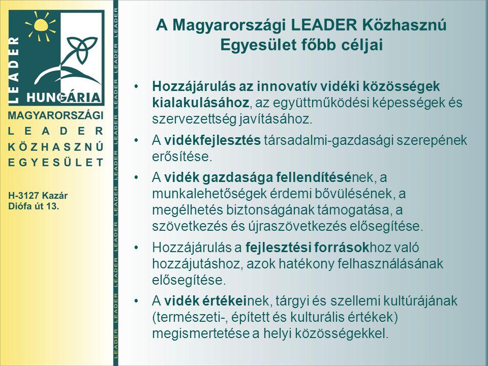A Magyarországi LEADER Közhasznú Egyesület főbb céljai Hozzájárulás az innovatív vidéki közösségek kialakulásához, az együttműködési képességek és szervezettség javításához.