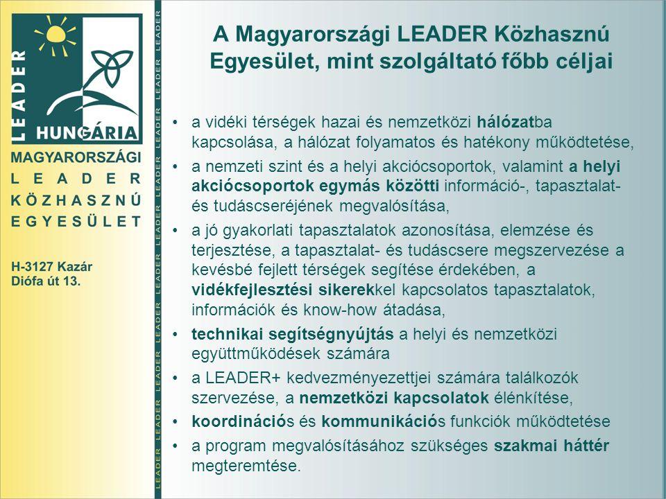 A Magyarországi LEADER Közhasznú Egyesület, mint szolgáltató főbb céljai a vidéki térségek hazai és nemzetközi hálózatba kapcsolása, a hálózat folyamatos és hatékony működtetése, a nemzeti szint és a helyi akciócsoportok, valamint a helyi akciócsoportok egymás közötti információ-, tapasztalat- és tudáscseréjének megvalósítása, a jó gyakorlati tapasztalatok azonosítása, elemzése és terjesztése, a tapasztalat- és tudáscsere megszervezése a kevésbé fejlett térségek segítése érdekében, a vidékfejlesztési sikerekkel kapcsolatos tapasztalatok, információk és know-how átadása, technikai segítségnyújtás a helyi és nemzetközi együttműködések számára a LEADER+ kedvezményezettjei számára találkozók szervezése, a nemzetközi kapcsolatok élénkítése, koordinációs és kommunikációs funkciók működtetése a program megvalósításához szükséges szakmai háttér megteremtése.