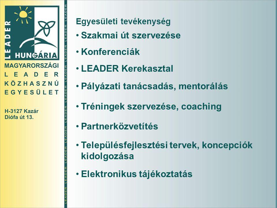 Egyesületi tevékenység Szakmai út szervezése Konferenciák LEADER Kerekasztal Pályázati tanácsadás, mentorálás Tréningek szervezése, coaching Partnerközvetítés Településfejlesztési tervek, koncepciók kidolgozása Elektronikus tájékoztatás