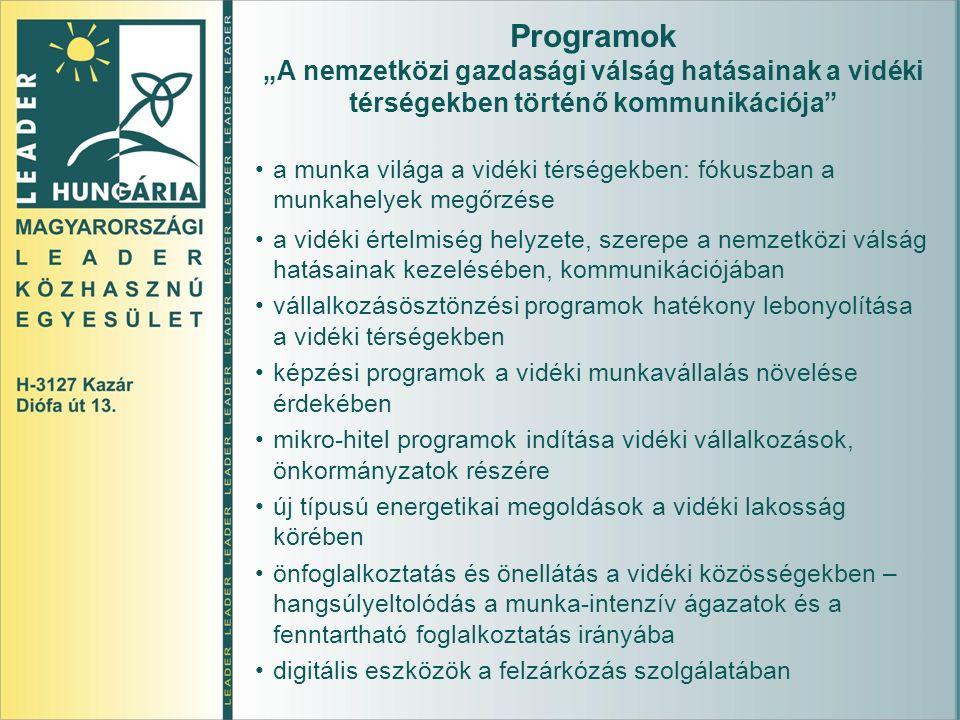 """Programok """"A nemzetközi gazdasági válság hatásainak a vidéki térségekben történő kommunikációja a munka világa a vidéki térségekben: fókuszban a munkahelyek megőrzése a vidéki értelmiség helyzete, szerepe a nemzetközi válság hatásainak kezelésében, kommunikációjában vállalkozásösztönzési programok hatékony lebonyolítása a vidéki térségekben képzési programok a vidéki munkavállalás növelése érdekében mikro-hitel programok indítása vidéki vállalkozások, önkormányzatok részére új típusú energetikai megoldások a vidéki lakosság körében önfoglalkoztatás és önellátás a vidéki közösségekben – hangsúlyeltolódás a munka-intenzív ágazatok és a fenntartható foglalkoztatás irányába digitális eszközök a felzárkózás szolgálatában"""