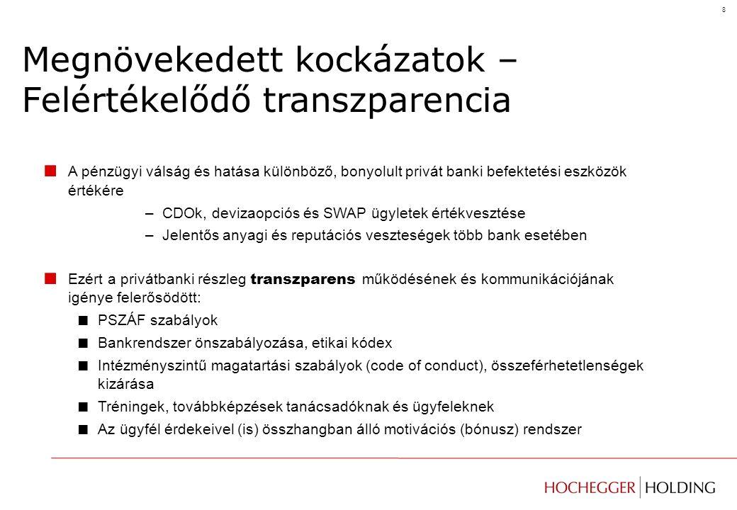 8 Megnövekedett kockázatok – Felértékelődő transzparencia ■ A pénzügyi válság és hatása különböző, bonyolult privát banki befektetési eszközök értékére –CDOk, devizaopciós és SWAP ügyletek értékvesztése –Jelentős anyagi és reputációs veszteségek több bank esetében ■ Ezért a privátbanki részleg transzparens működésének és kommunikációjának igénye felerősödött: ■ PSZÁF szabályok ■ Bankrendszer önszabályozása, etikai kódex ■ Intézményszintű magatartási szabályok (code of conduct), összeférhetetlenségek kizárása ■ Tréningek, továbbképzések tanácsadóknak és ügyfeleknek ■ Az ügyfél érdekeivel (is) összhangban álló motivációs (bónusz) rendszer