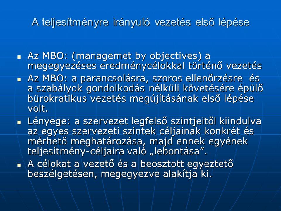 A teljesítményre irányuló vezetés első lépése Az MBO: (managemet by objectives) a megegyezéses eredménycélokkal történő vezetés Az MBO: (managemet by objectives) a megegyezéses eredménycélokkal történő vezetés Az MBO: a parancsolásra, szoros ellenőrzésre és a szabályok gondolkodás nélküli követésére épülő bürokratikus vezetés megújításának első lépése volt.