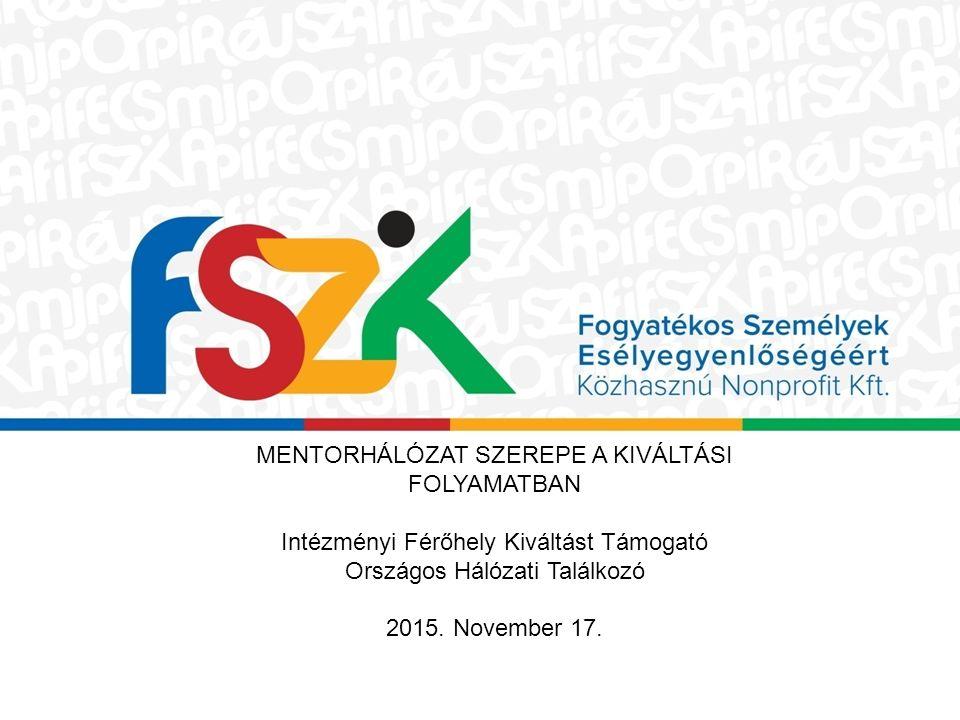 MENTORHÁLÓZAT SZEREPE A KIVÁLTÁSI FOLYAMATBAN Intézményi Férőhely Kiváltást Támogató Országos Hálózati Találkozó 2015.