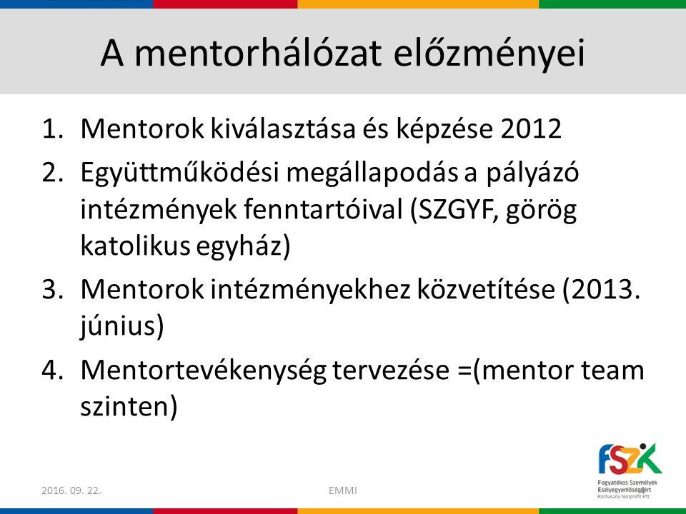 A mentorhálózat működésének első szakasza (2013.június – 2014.