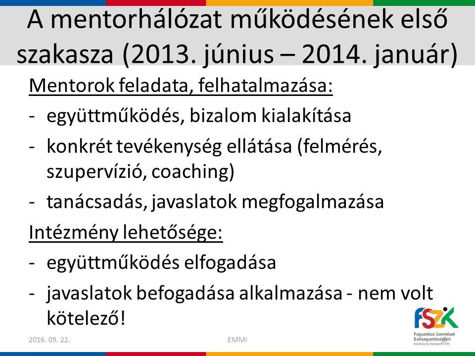 A mentorhálózat működésének első szakasza (2013. június – 2014.
