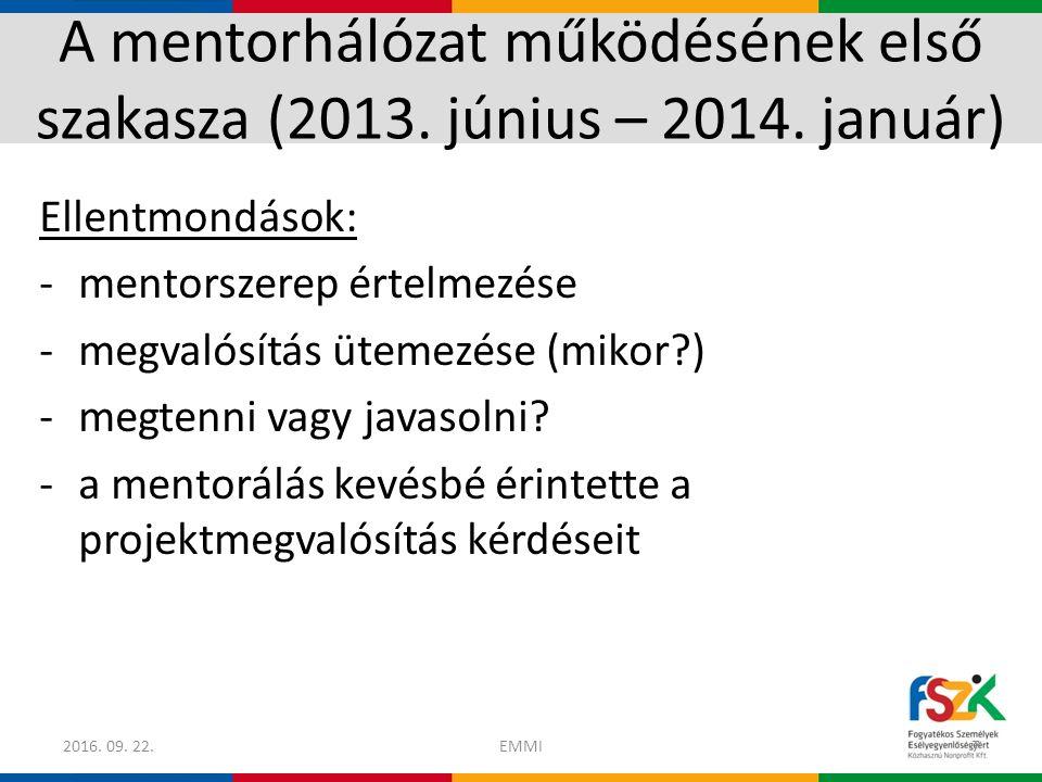 A mentorhálózat működésének második szakasza (2014.március – 2015.
