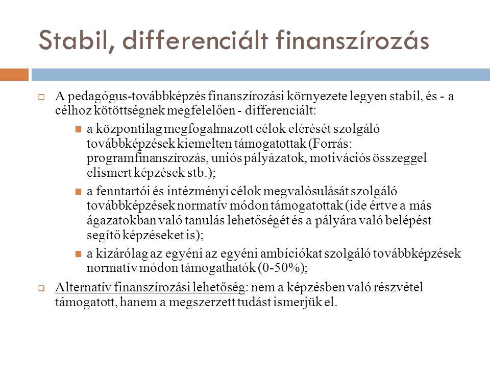 Stabil, differenciált finanszírozás  A pedagógus-továbbképzés finanszírozási környezete legyen stabil, és - a célhoz kötöttségnek megfelelően - differenciált: a központilag megfogalmazott célok elérését szolgáló továbbképzések kiemelten támogatottak (Forrás: programfinanszírozás, uniós pályázatok, motivációs összeggel elismert képzések stb.); a fenntartói és intézményi célok megvalósulását szolgáló továbbképzések normatív módon támogatottak (ide értve a más ágazatokban való tanulás lehetőségét és a pályára való belépést segítő képzéseket is); a kizárólag az egyéni az egyéni ambíciókat szolgáló továbbképzések normatív módon támogathatók (0-50%);  Alternatív finanszírozási lehetőség: nem a képzésben való részvétel támogatott, hanem a megszerzett tudást ismerjük el.