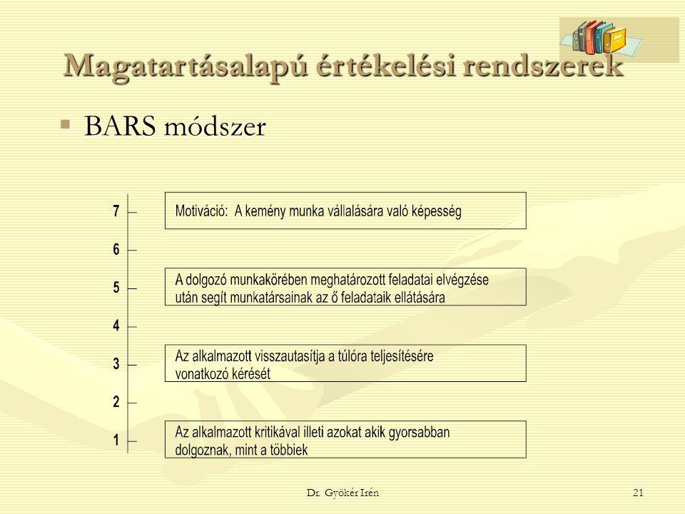 Dr. Gyökér Irén21 Magatartásalapú értékelési rendszerek  BARS módszer