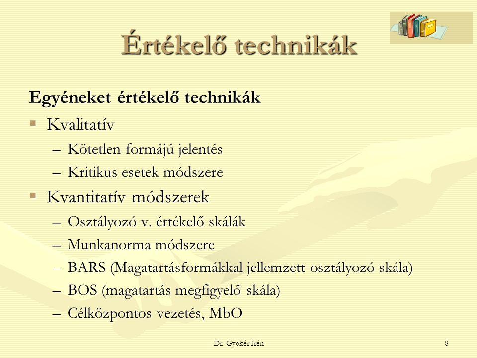 Dr. Gyökér Irén8 Értékelő technikák Egyéneket értékelő technikák  Kvalitatív –Kötetlen formájú jelentés –Kritikus esetek módszere  Kvantitatív módsz